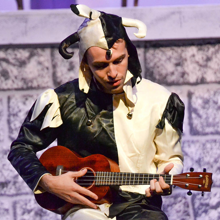 "Josiah Brown performs in a production of ""Twelfth Night."""