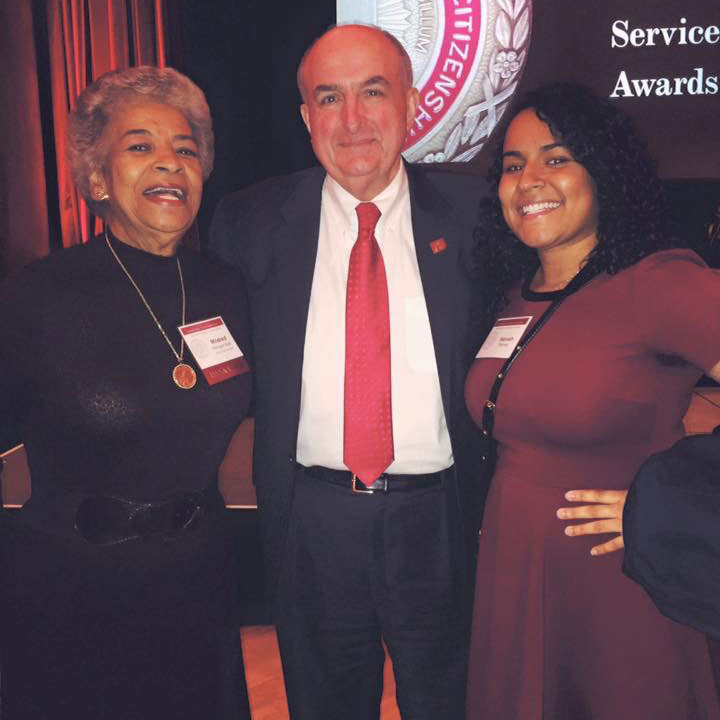 Hannah Thomas with her grandmother Mildred Ball and IU President Michael McRobbie.